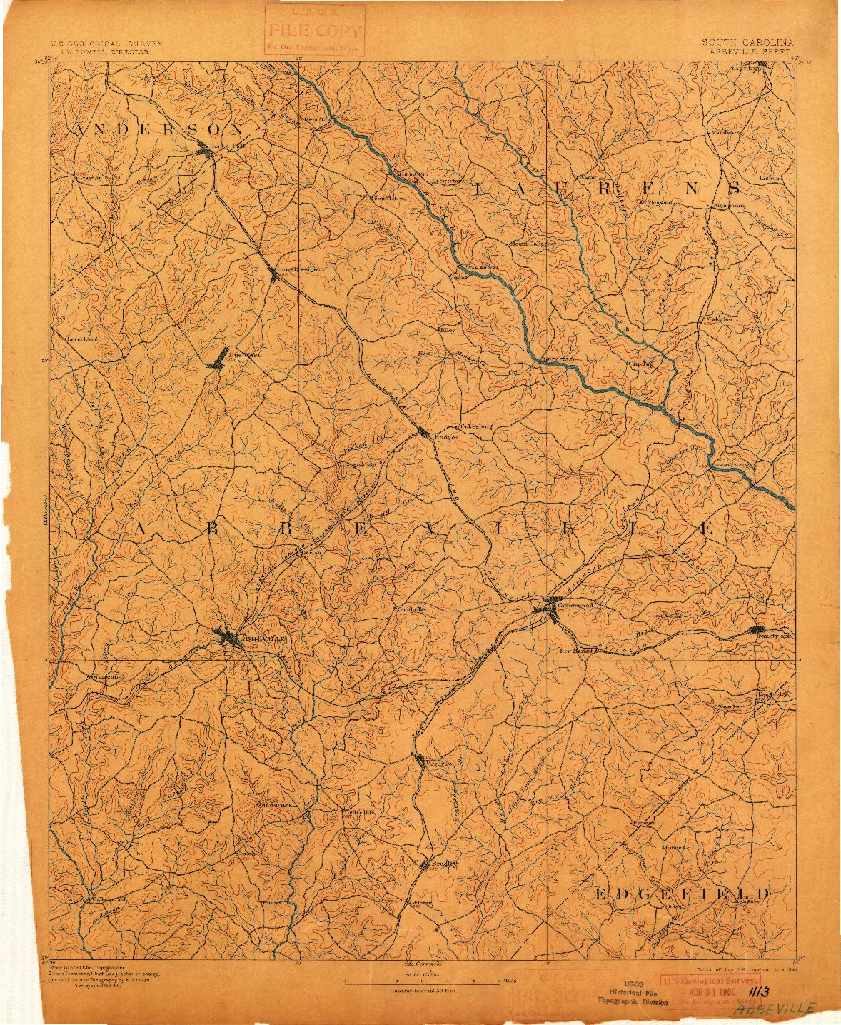 USGS 1:125000-SCALE QUADRANGLE FOR ABBEVILLE, SC 1892