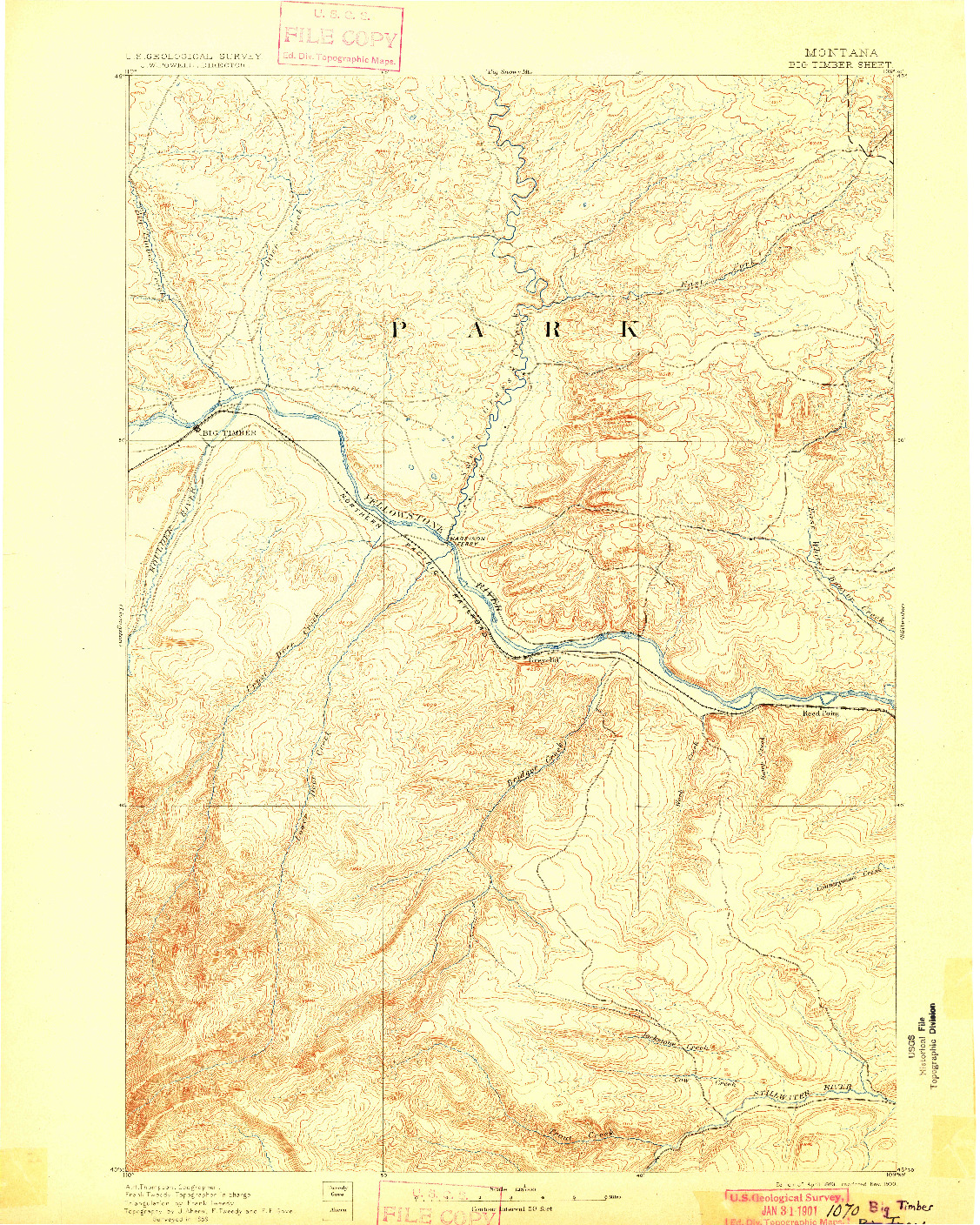 USGS 1:125000-SCALE QUADRANGLE FOR BIG TIMBER, MT 1893