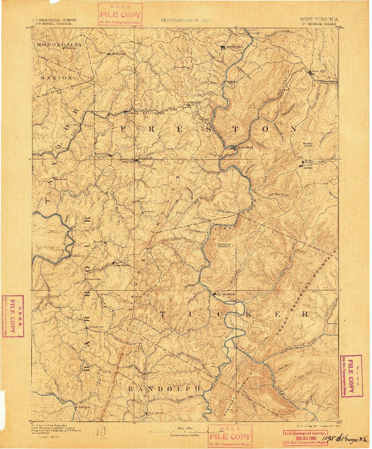 USGS 1:125000-SCALE QUADRANGLE FOR ST. GEORGE, WV 1891