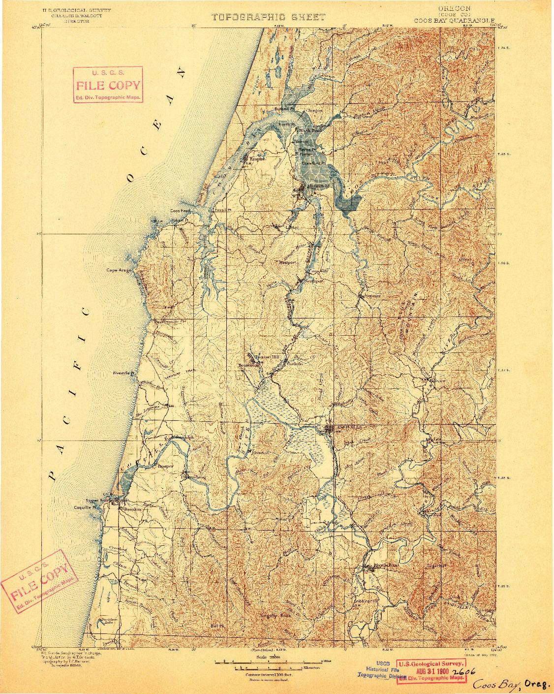 USGS 1:125000-SCALE QUADRANGLE FOR COOS BAY, OR 1900