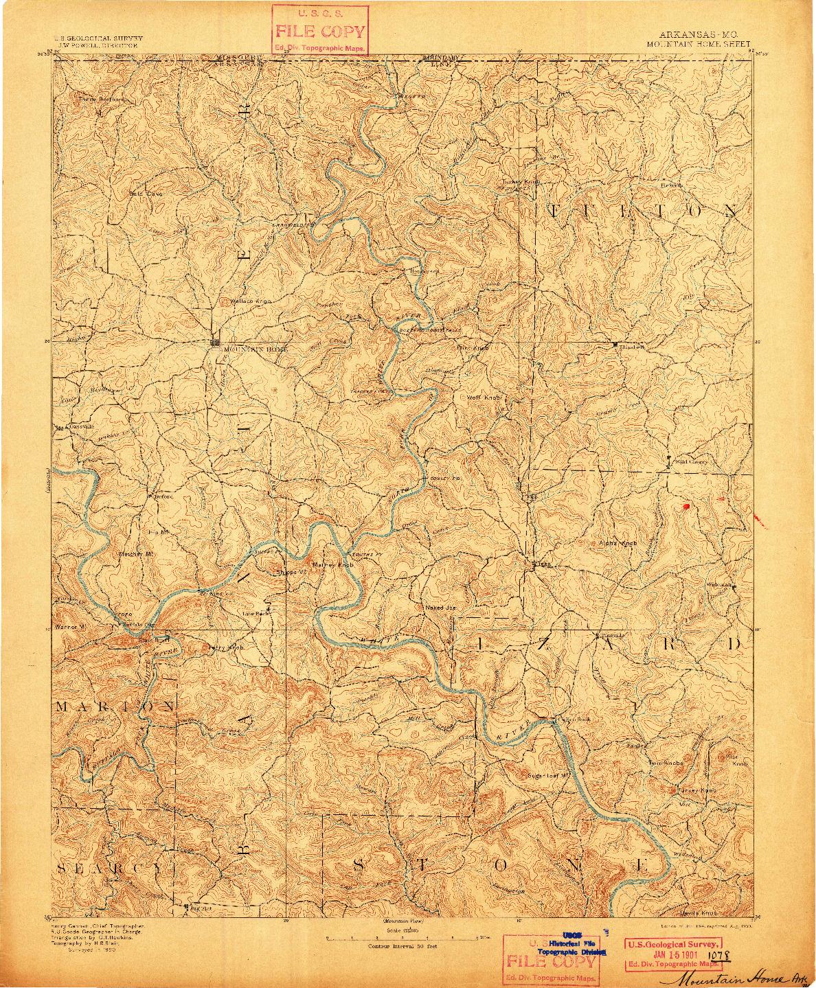 USGS 1:125000-SCALE QUADRANGLE FOR MOUNTAIN HOME, AR 1894