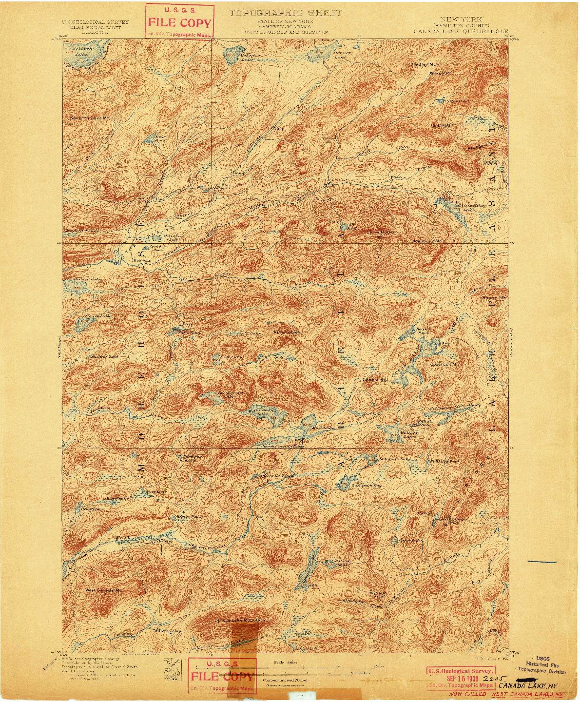 USGS 1:62500-SCALE QUADRANGLE FOR CANADA LAKE, NY 1900