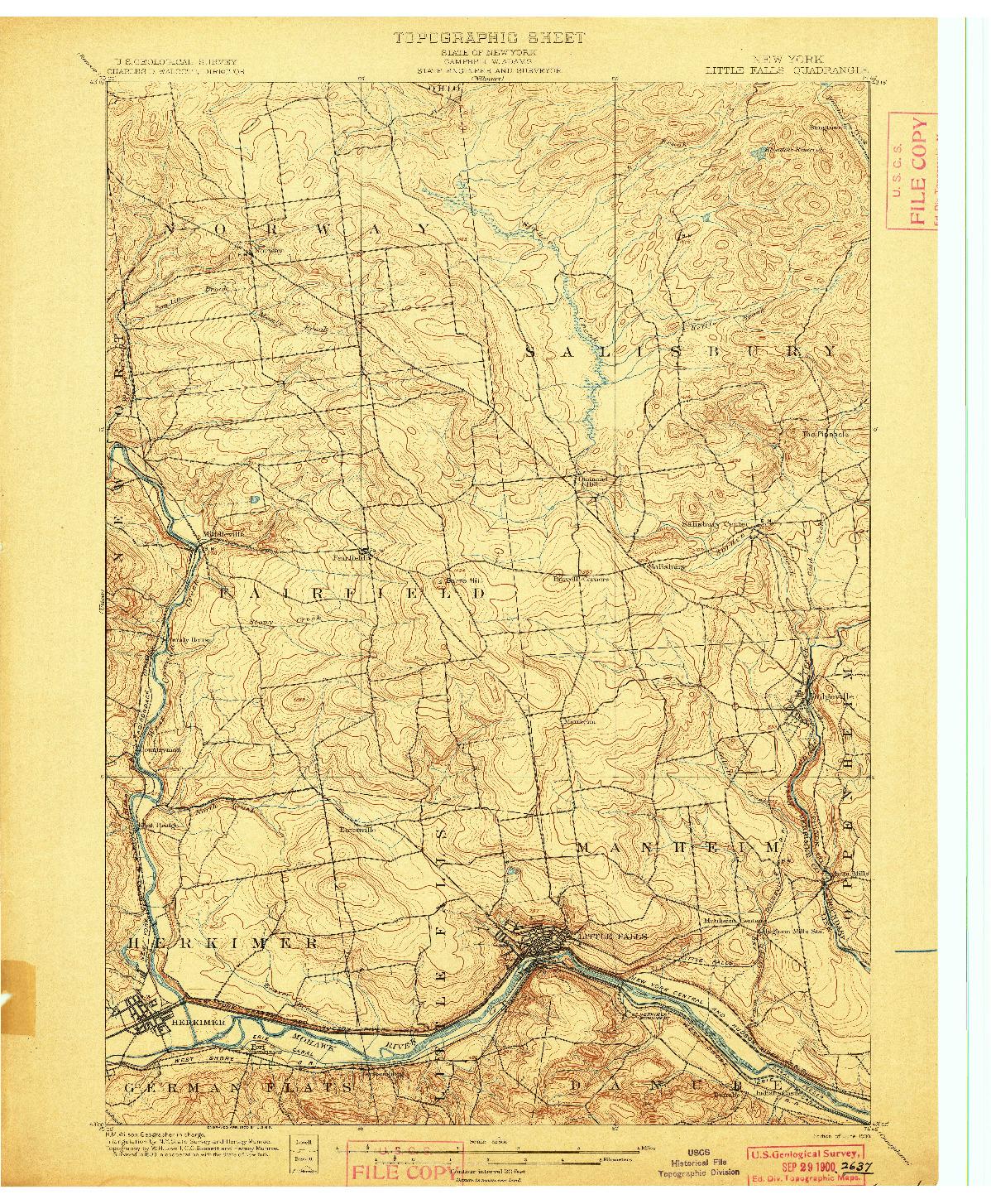 USGS 1:62500-SCALE QUADRANGLE FOR LITTLE FALLS, NY 1900