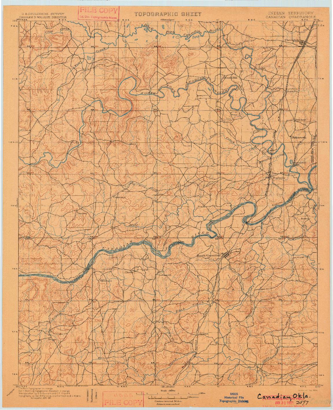USGS 1:125000-SCALE QUADRANGLE FOR CANADIAN, IT 1900