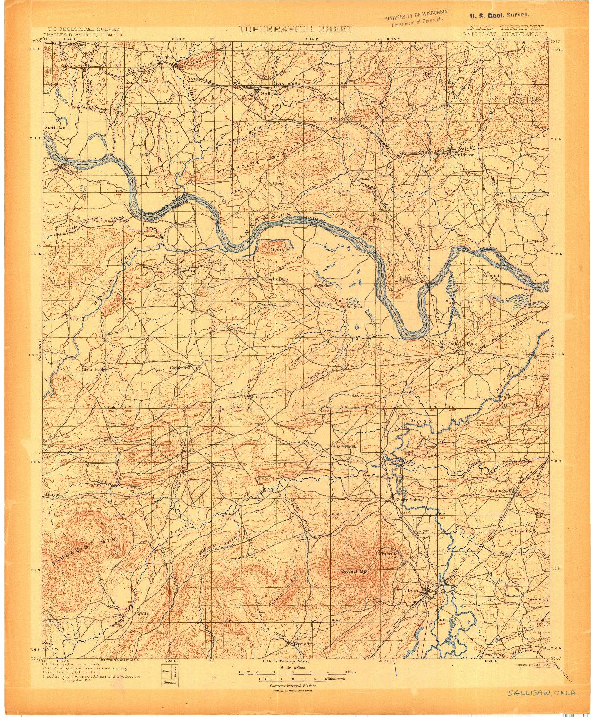 USGS 1:125000-SCALE QUADRANGLE FOR SALLISAW, IT 1900