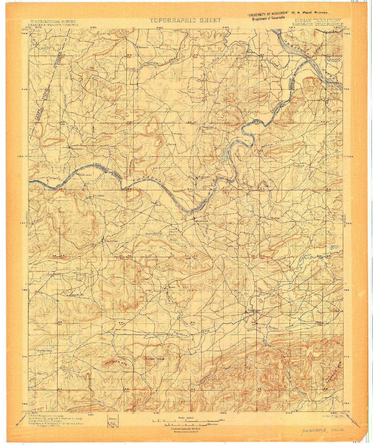 USGS 1:125000-SCALE QUADRANGLE FOR SANSBOIS, IT 1900