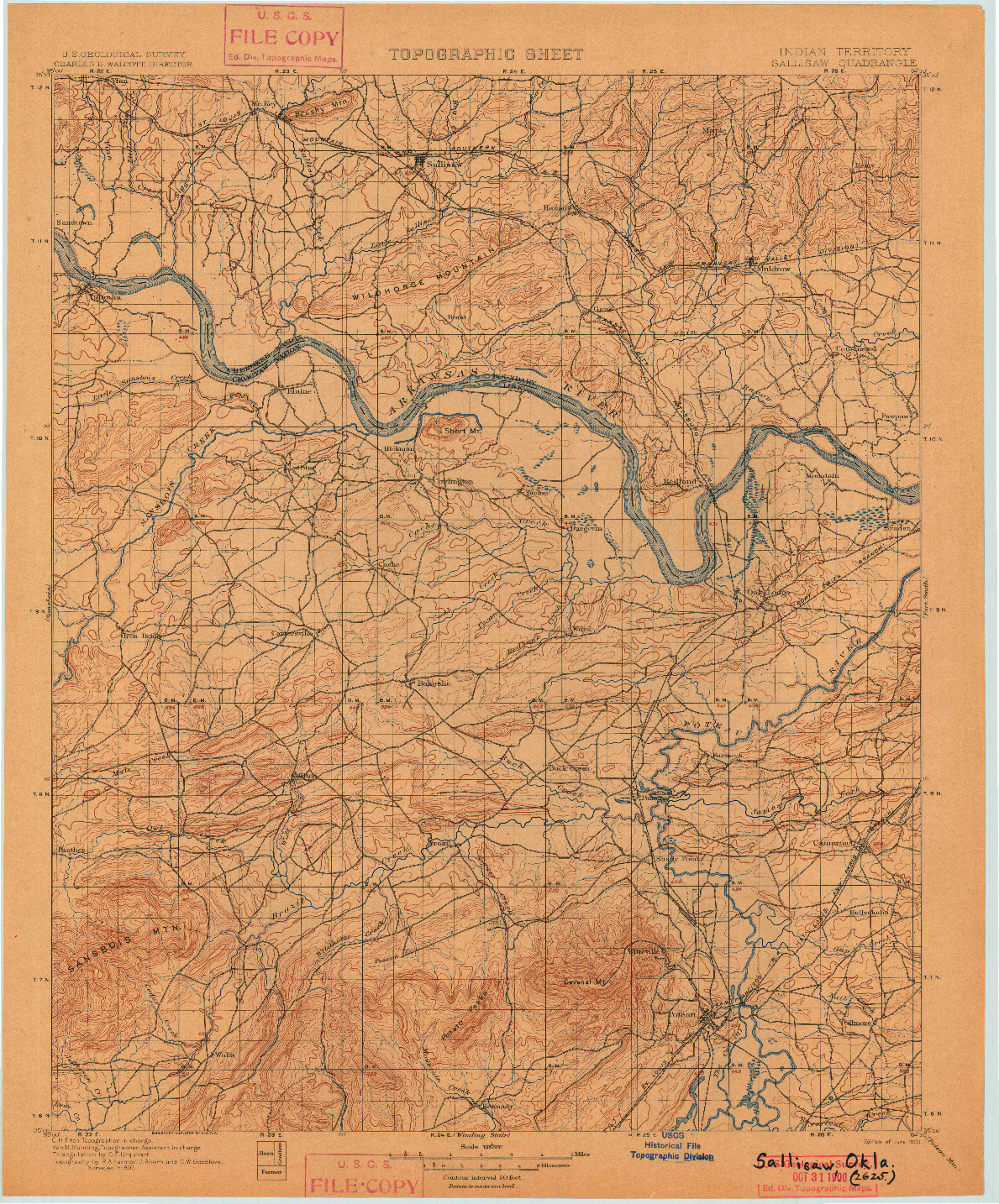 USGS 1:125000-SCALE QUADRANGLE FOR SALLISAW, OK 1900