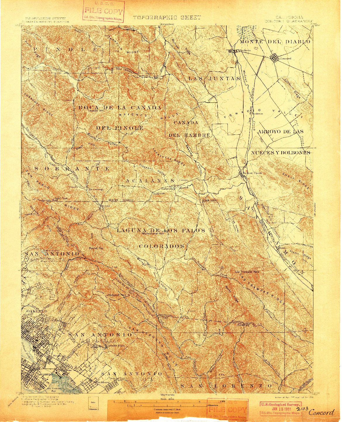 USGS 1:62500-SCALE QUADRANGLE FOR CONCORD, CA 1897