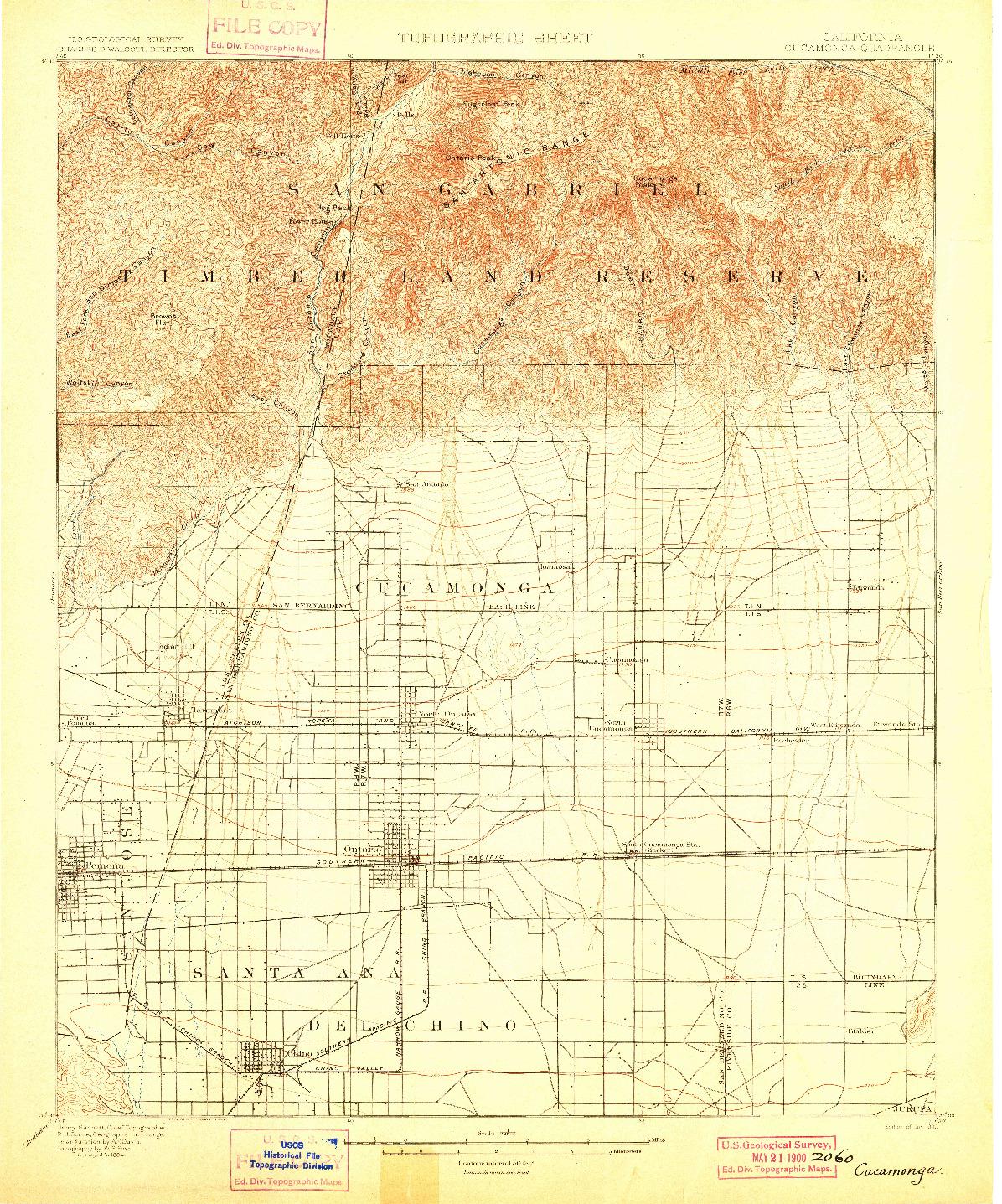 USGS 1:62500-SCALE QUADRANGLE FOR CUCAMONGA, CA 1900