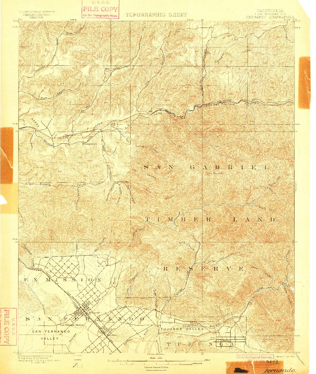 USGS 1:62500-SCALE QUADRANGLE FOR FERNANDO, CA 1900