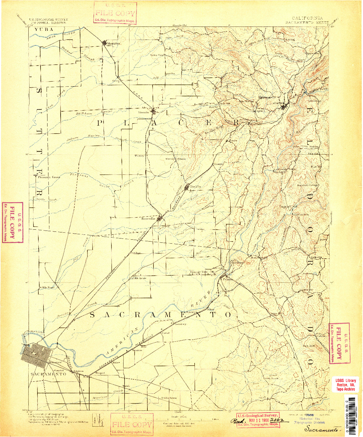 USGS 1:125000-SCALE QUADRANGLE FOR SACRAMENTO, CA 1893