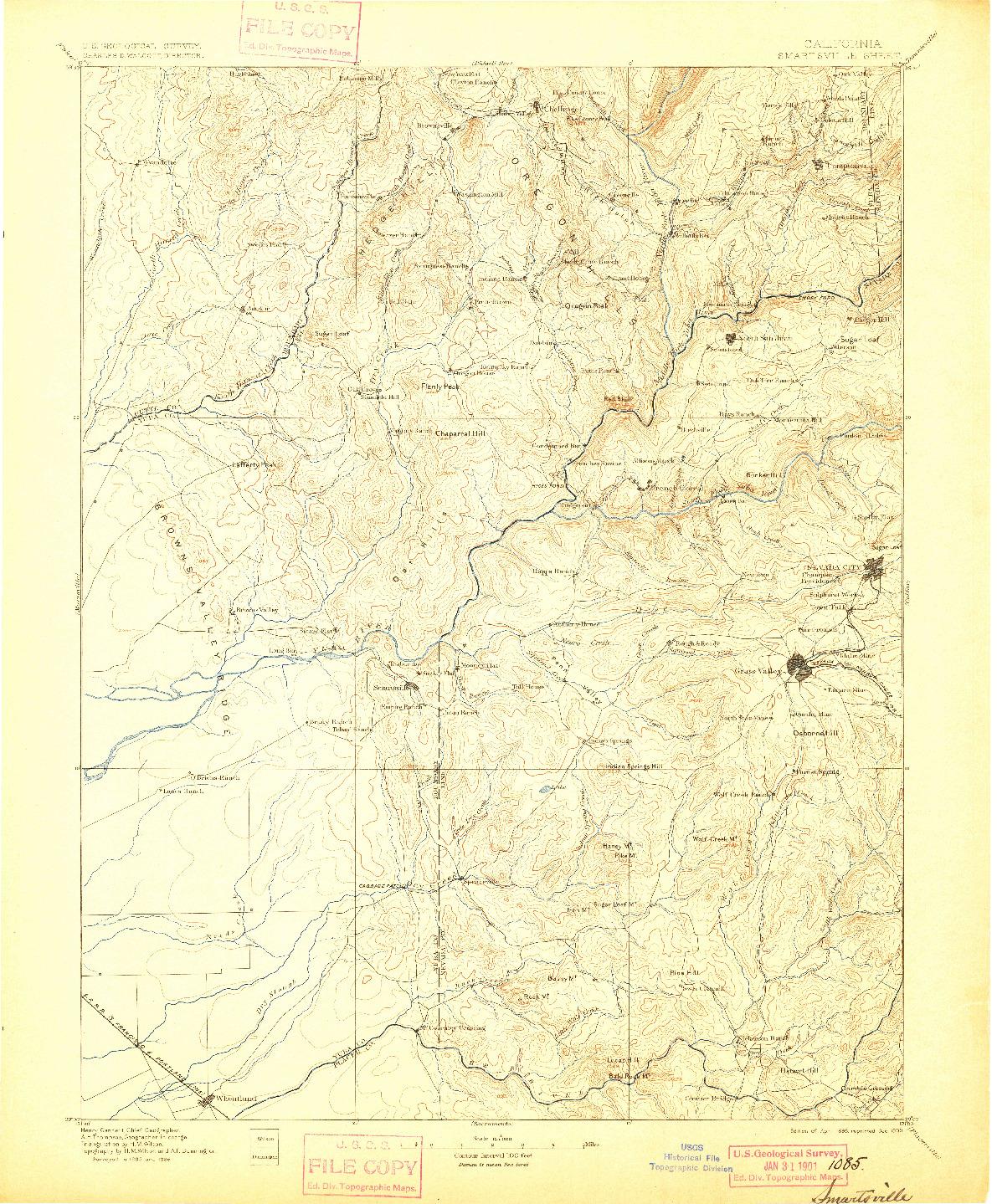 USGS 1:125000-SCALE QUADRANGLE FOR SMARTSVILLE, CA 1895