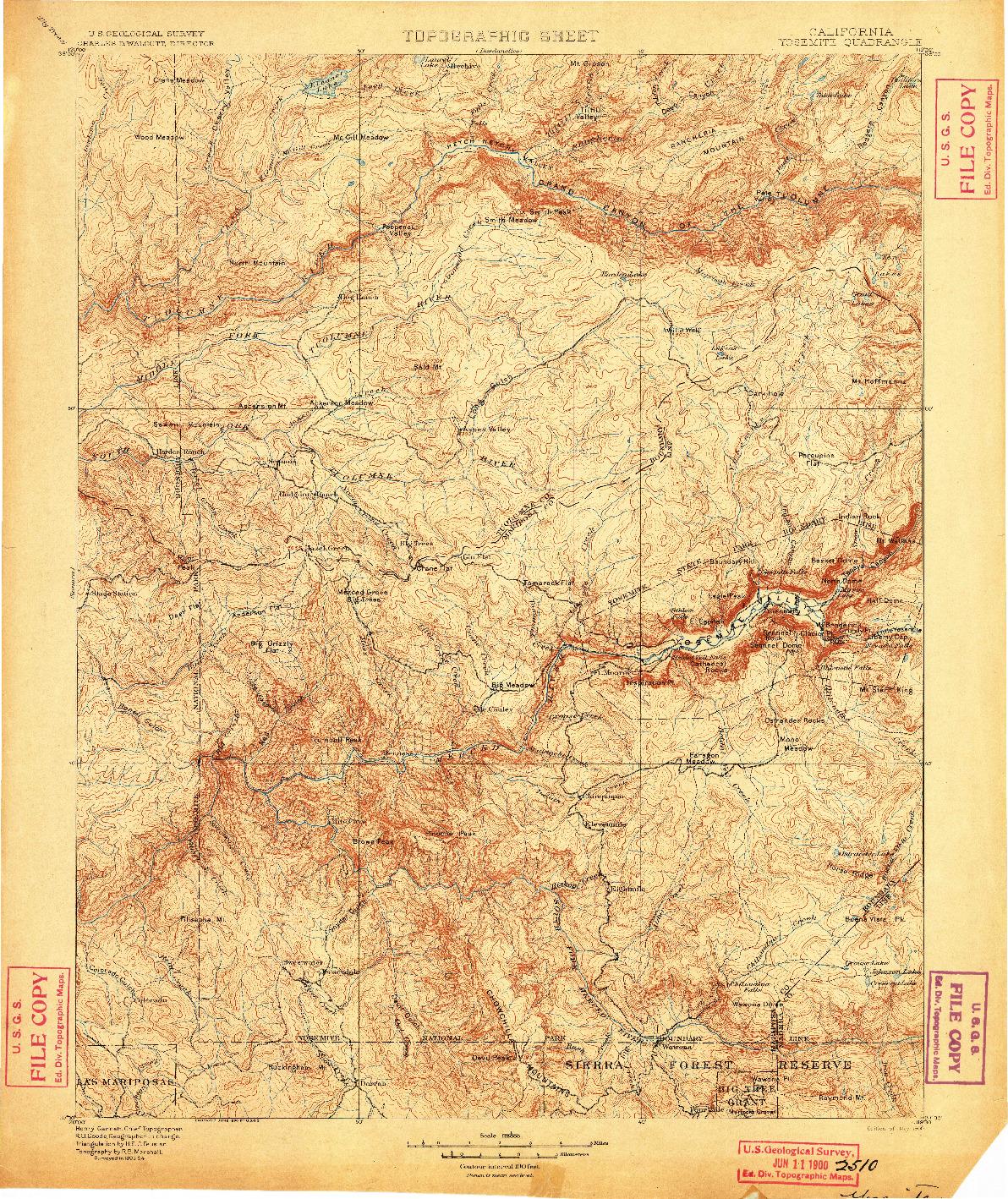 USGS 1:125000-SCALE QUADRANGLE FOR YOSEMITE, CA 1900
