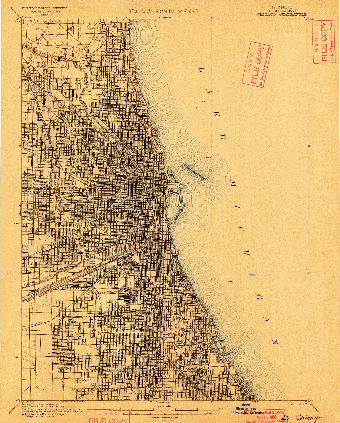 USGS 1:62500-SCALE QUADRANGLE FOR CHICAGO, IL 1900