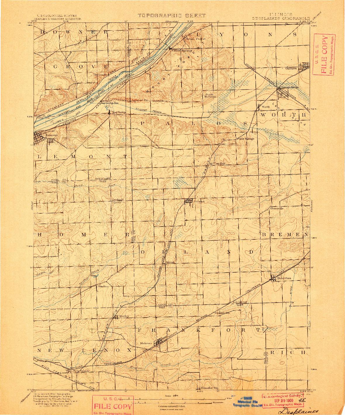 USGS 1:62500-SCALE QUADRANGLE FOR DES PLAINES, IL 1900