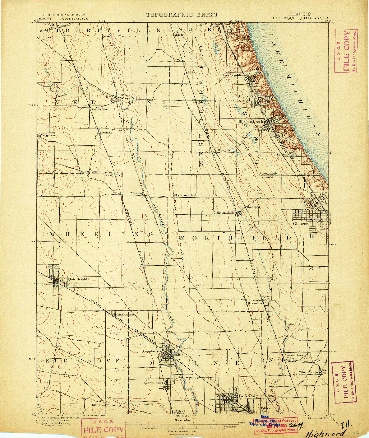 USGS 1:62500-SCALE QUADRANGLE FOR HIGHWOOD, IL 1900