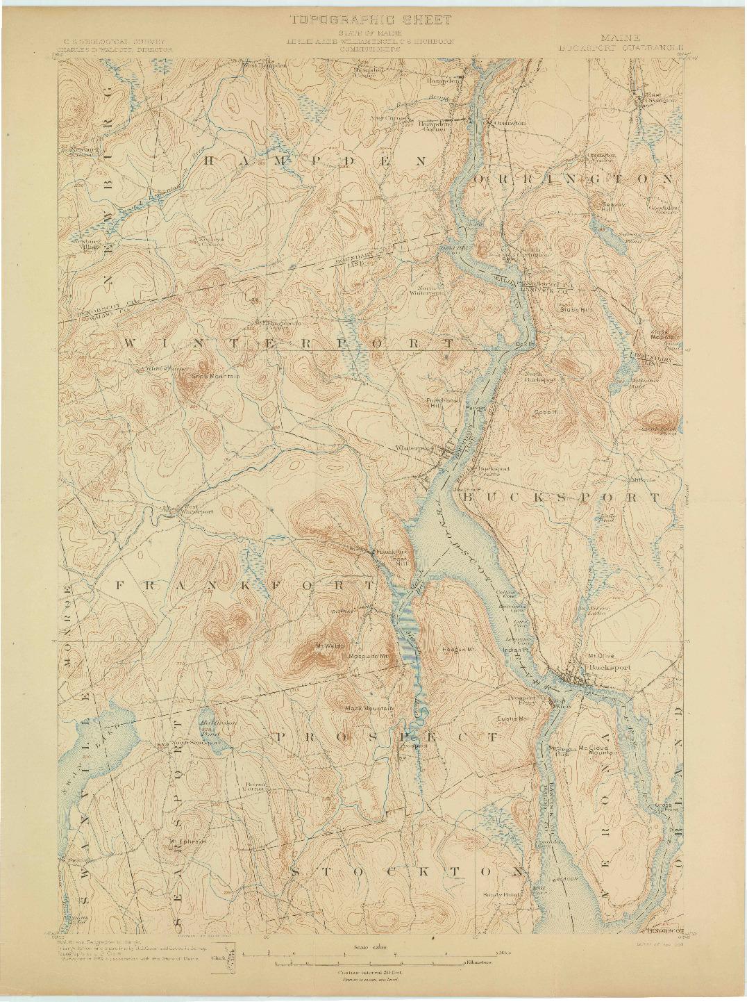 USGS 1:62500-SCALE QUADRANGLE FOR BUCKSPORT, ME 1900