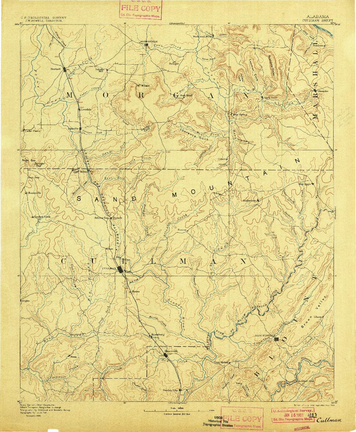 USGS 1:125000-SCALE QUADRANGLE FOR CULLMAN, AL 1892