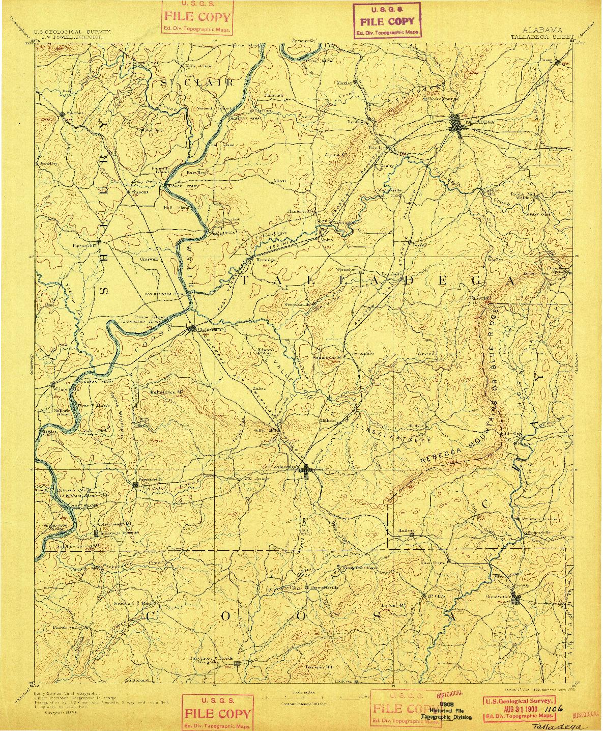 USGS 1:125000-SCALE QUADRANGLE FOR TALLADEGA, AL 1892