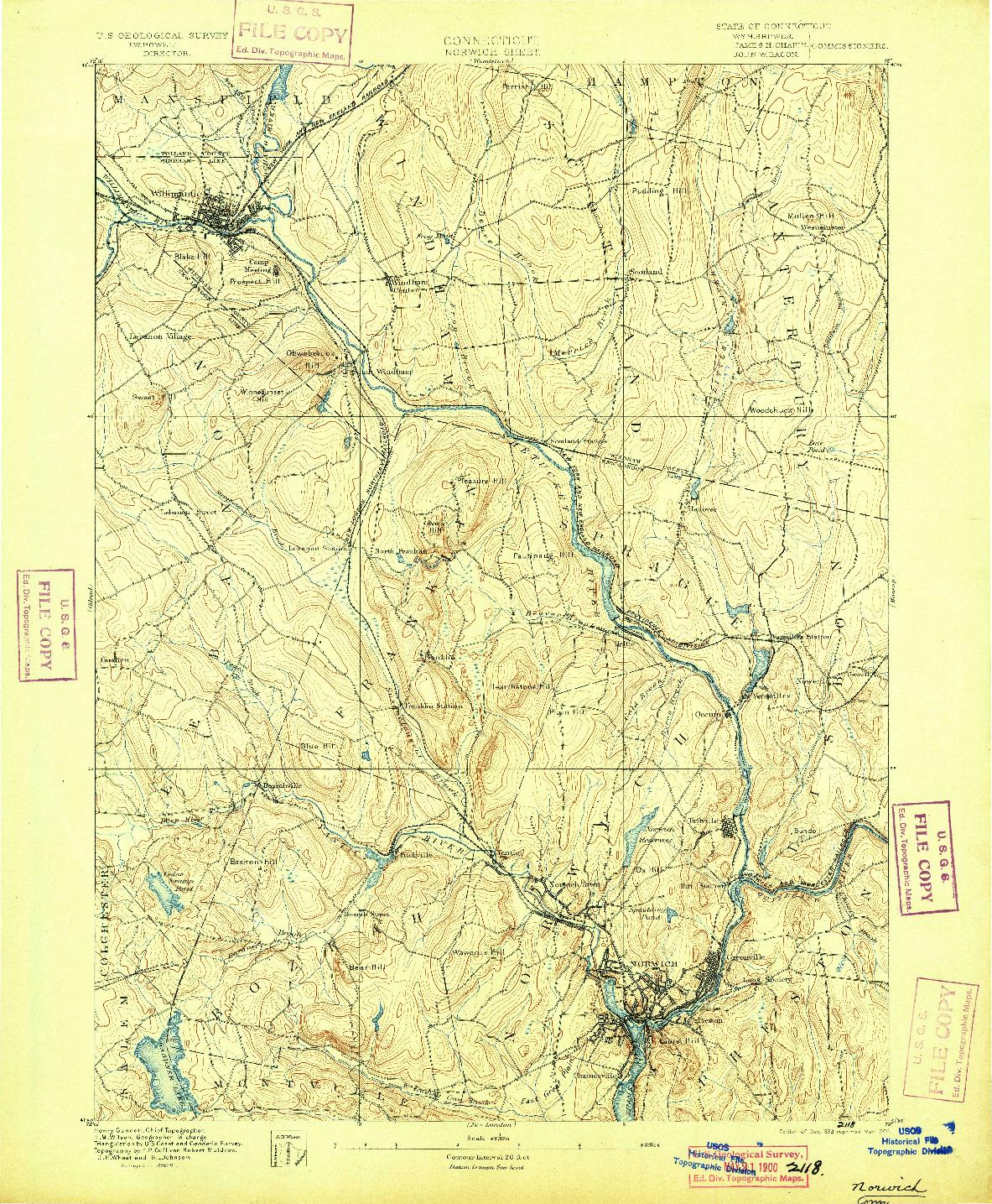 USGS 1:62500-SCALE QUADRANGLE FOR NORWICH, CT 1892
