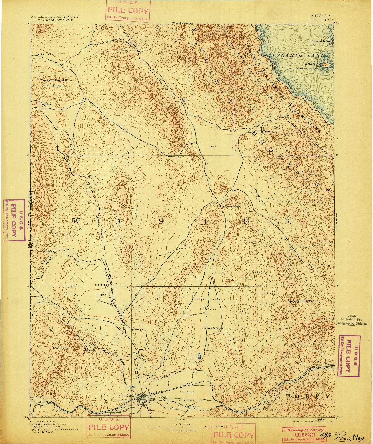 USGS 1:125000-SCALE QUADRANGLE FOR RENO, NV 1893