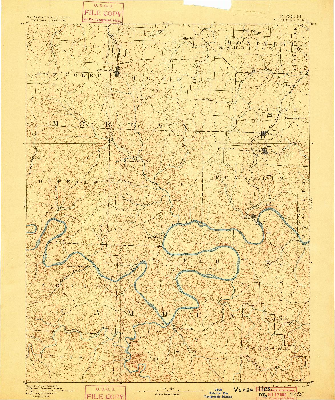 USGS 1:125000-SCALE QUADRANGLE FOR VERSAILLES, MO 1893