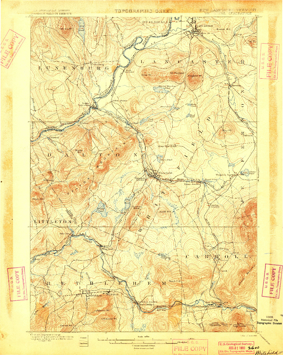 USGS 1:62500-SCALE QUADRANGLE FOR WHITEFIELD, NH 1900
