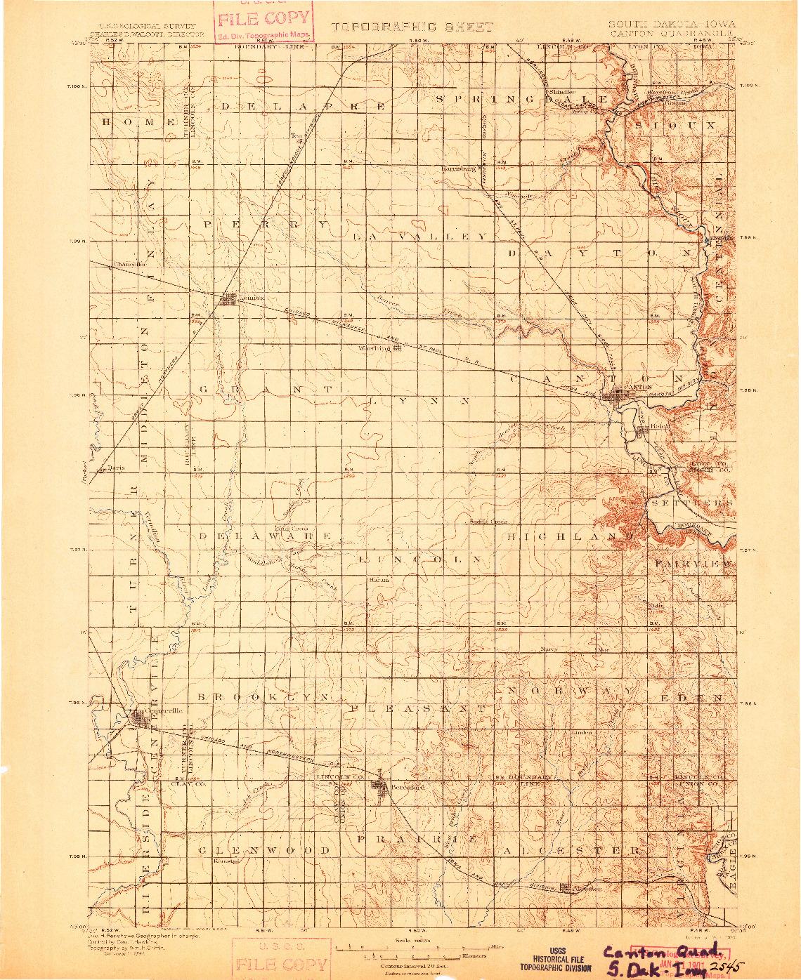 USGS 1:125000-SCALE QUADRANGLE FOR CANTON, SD 1900