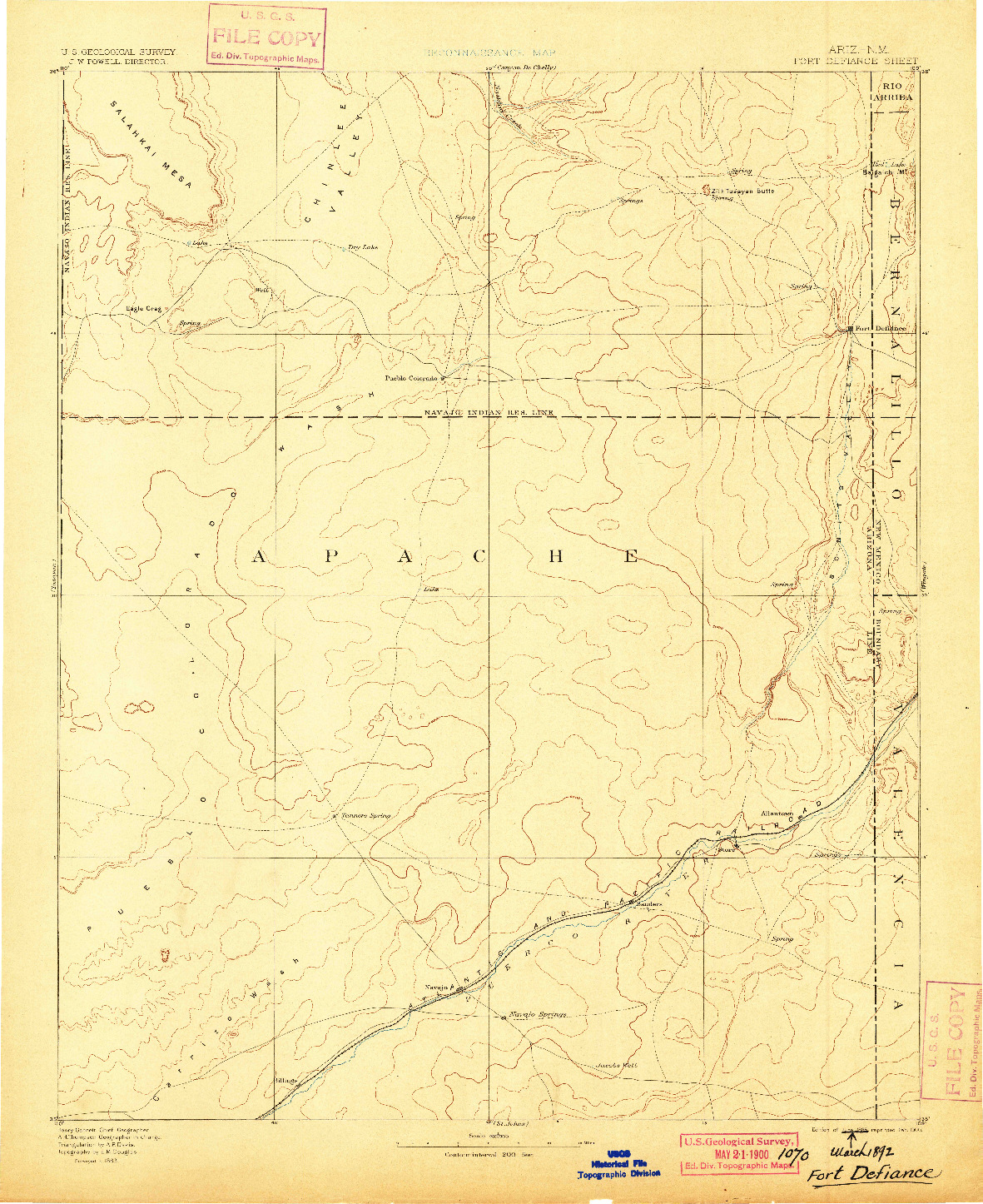 USGS 1:250000-SCALE QUADRANGLE FOR FORT DEFIANCE, AZ 1892