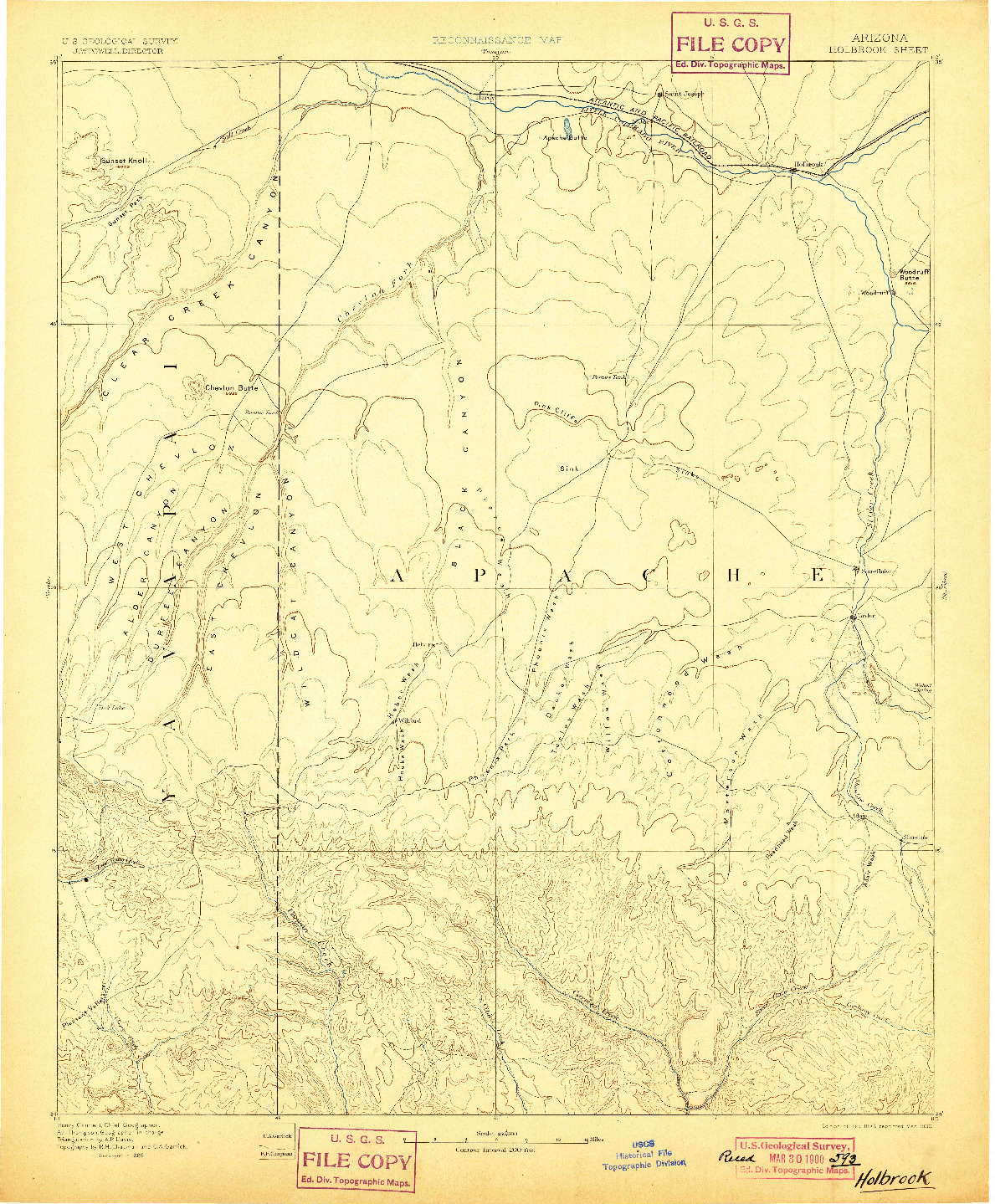 USGS 1:250000-SCALE QUADRANGLE FOR HOLBROOK, AZ 1893