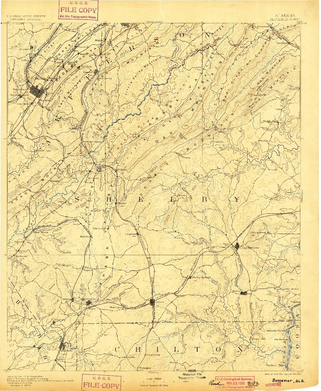 USGS 1:125000-SCALE QUADRANGLE FOR BESSEMER, AL 1892