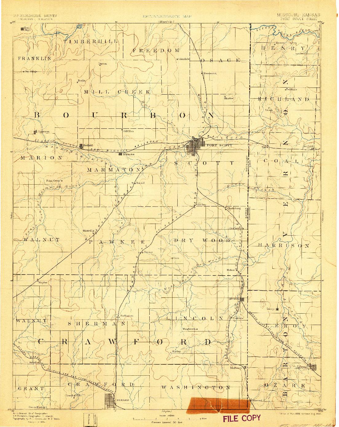 USGS 1:125000-SCALE QUADRANGLE FOR FT SCOTT, MO 1893