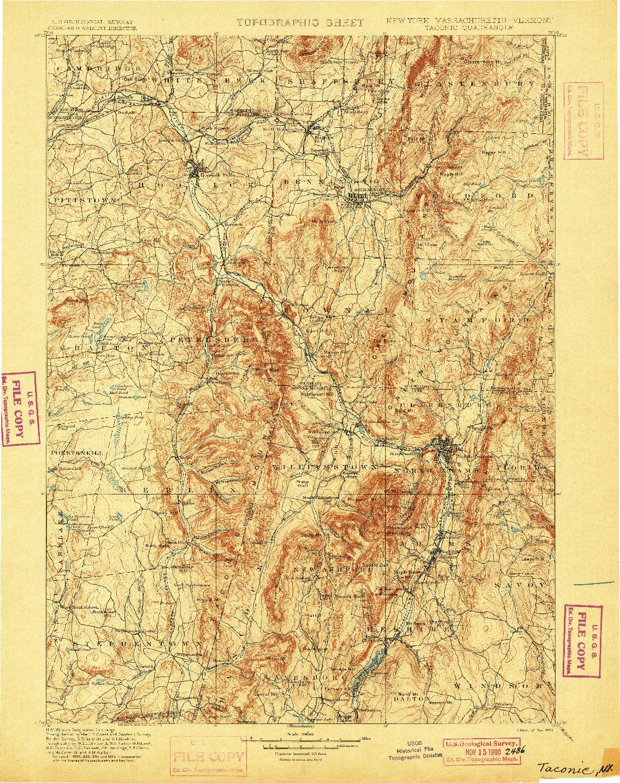 USGS 1:125000-SCALE QUADRANGLE FOR TACONIC, NY 1900