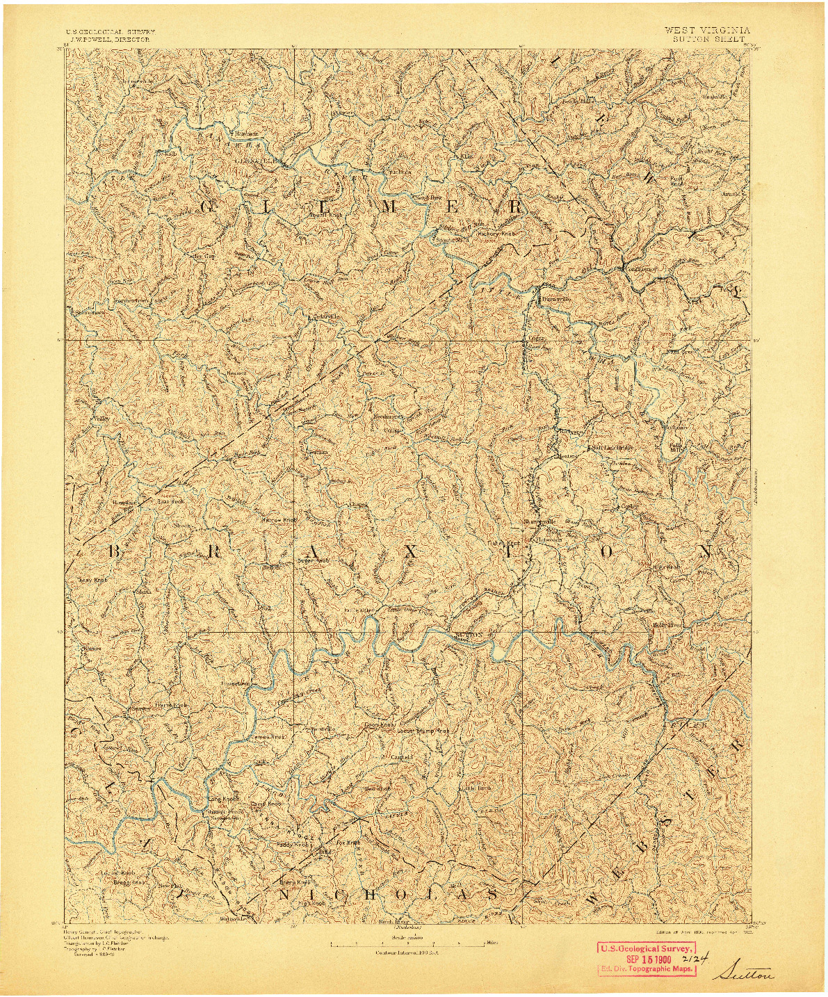 USGS 1:125000-SCALE QUADRANGLE FOR SUTTON, WV 1893