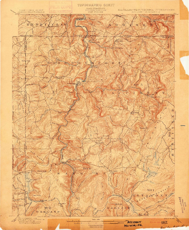 USGS 1:62500-SCALE QUADRANGLE FOR ACCIDENT, MD 1900