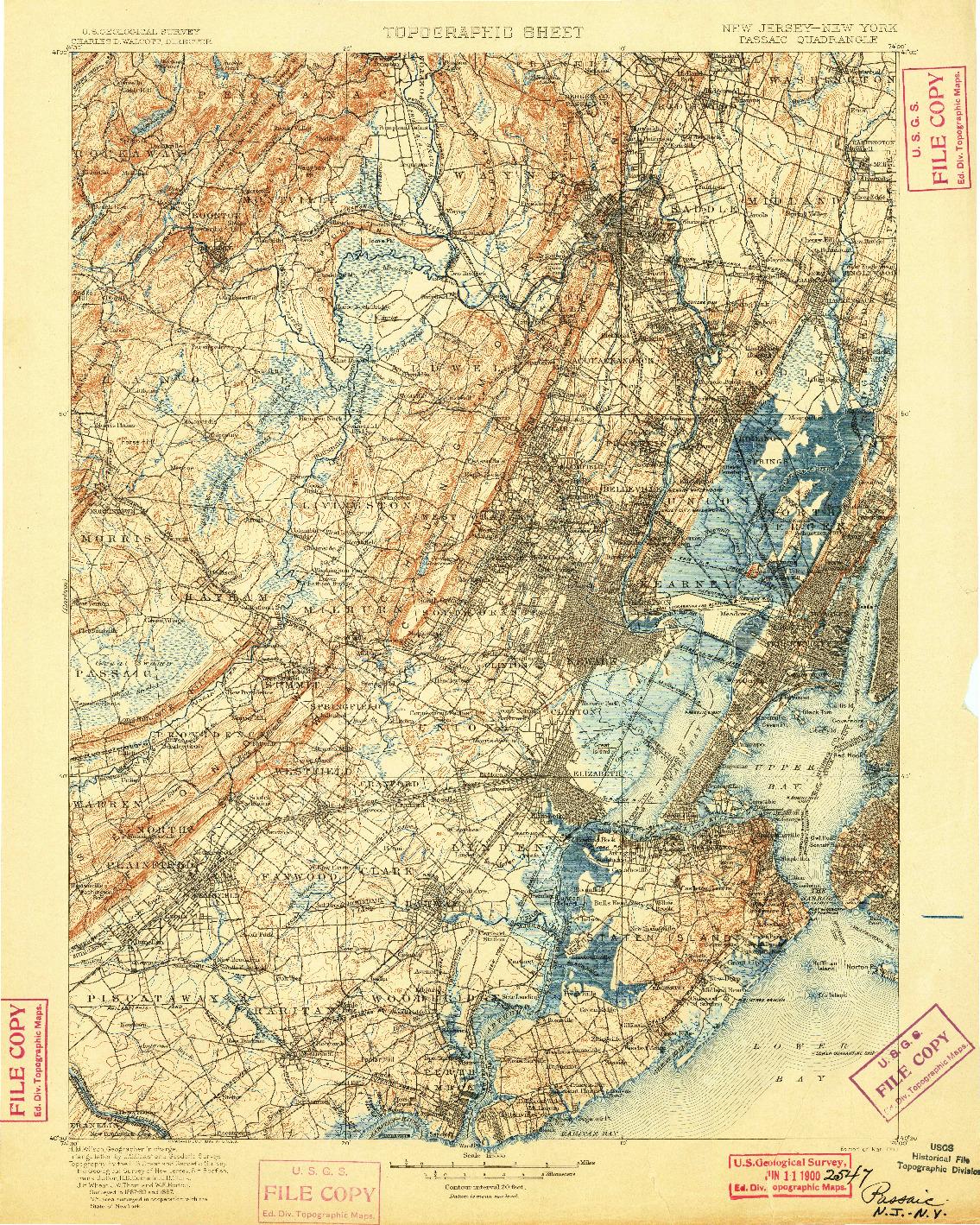 USGS 1:125000-SCALE QUADRANGLE FOR PASSAIC, NJ 1900