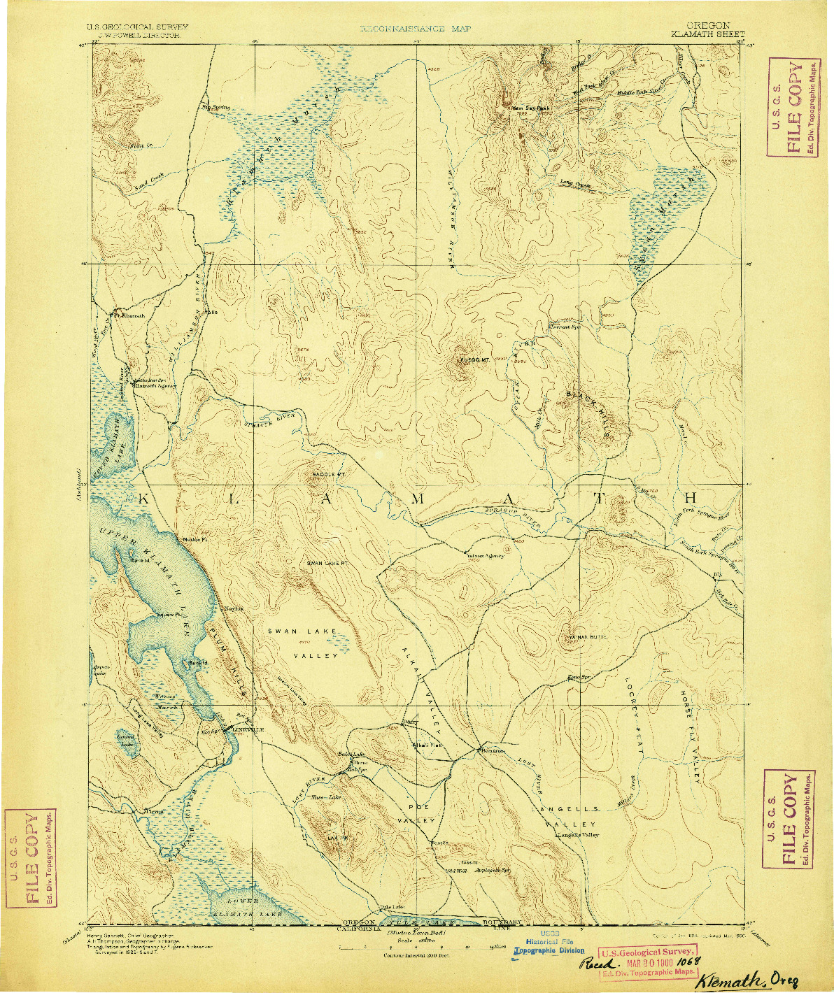 USGS 1:250000-SCALE QUADRANGLE FOR KLAMATH, OR 1894
