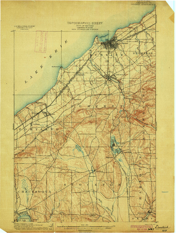 USGS 1:62500-SCALE QUADRANGLE FOR DUNKIRK, NY 1900