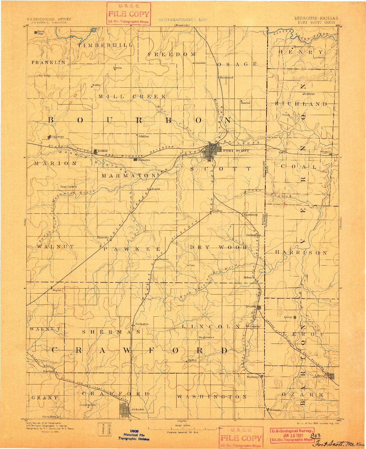 USGS 1:125000-SCALE QUADRANGLE FOR FORT SCOTT, KS 1893
