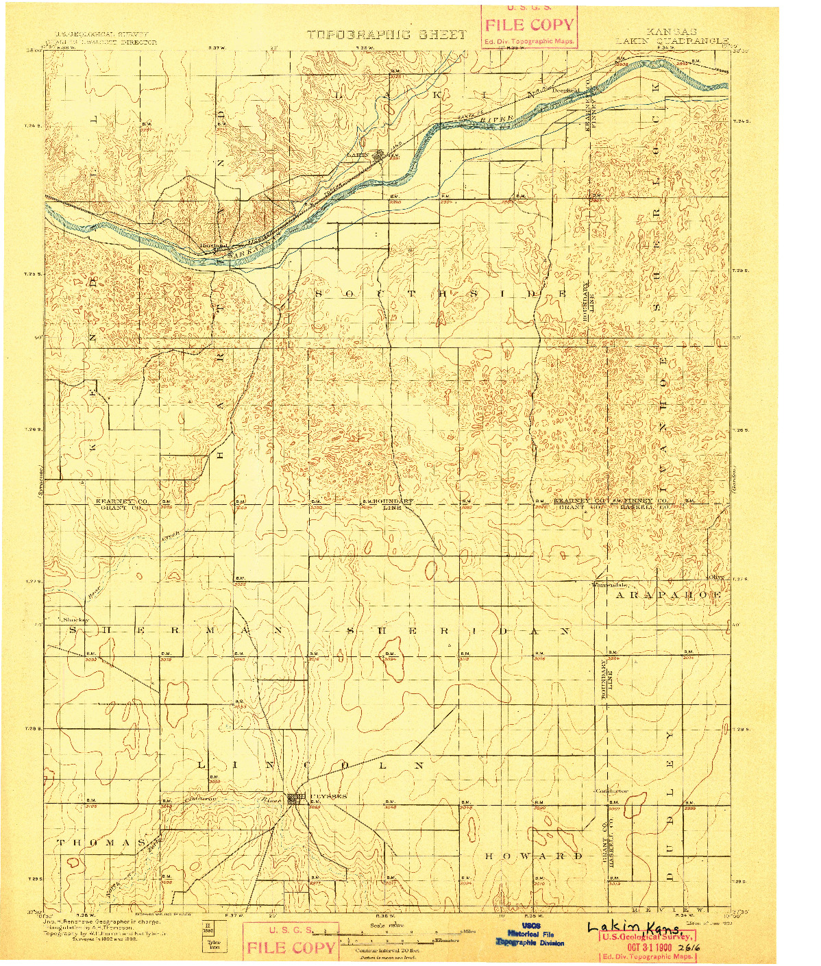 USGS 1:125000-SCALE QUADRANGLE FOR LAKIN, KS 1900