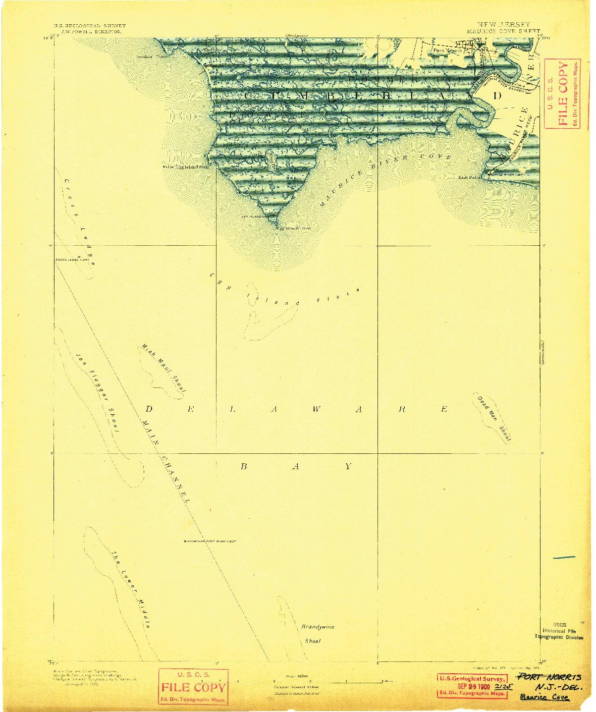 USGS 1:62500-SCALE QUADRANGLE FOR MAURICE COVE, NJ 1891