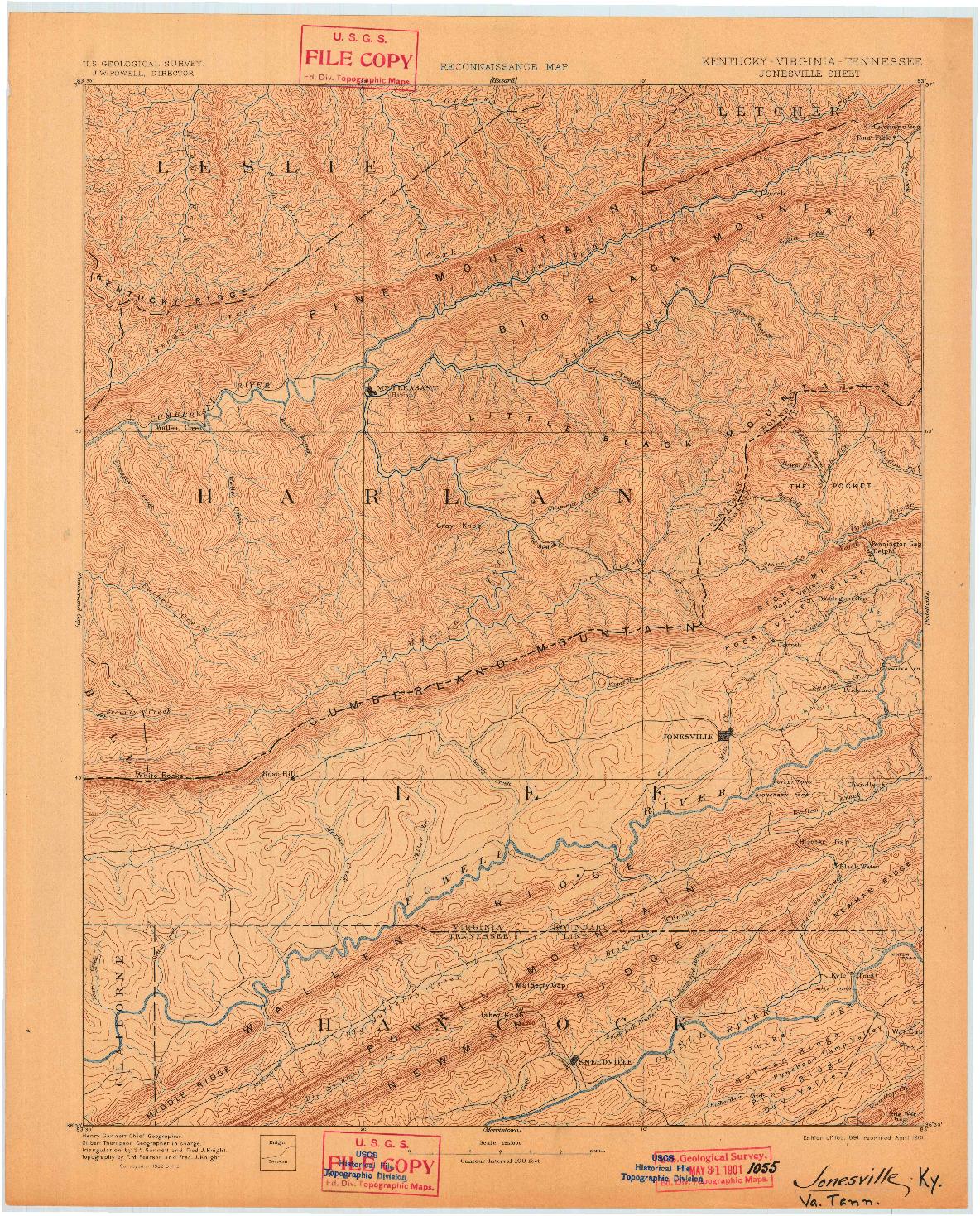USGS 1:125000-SCALE QUADRANGLE FOR JONESVILLE, KY 1891