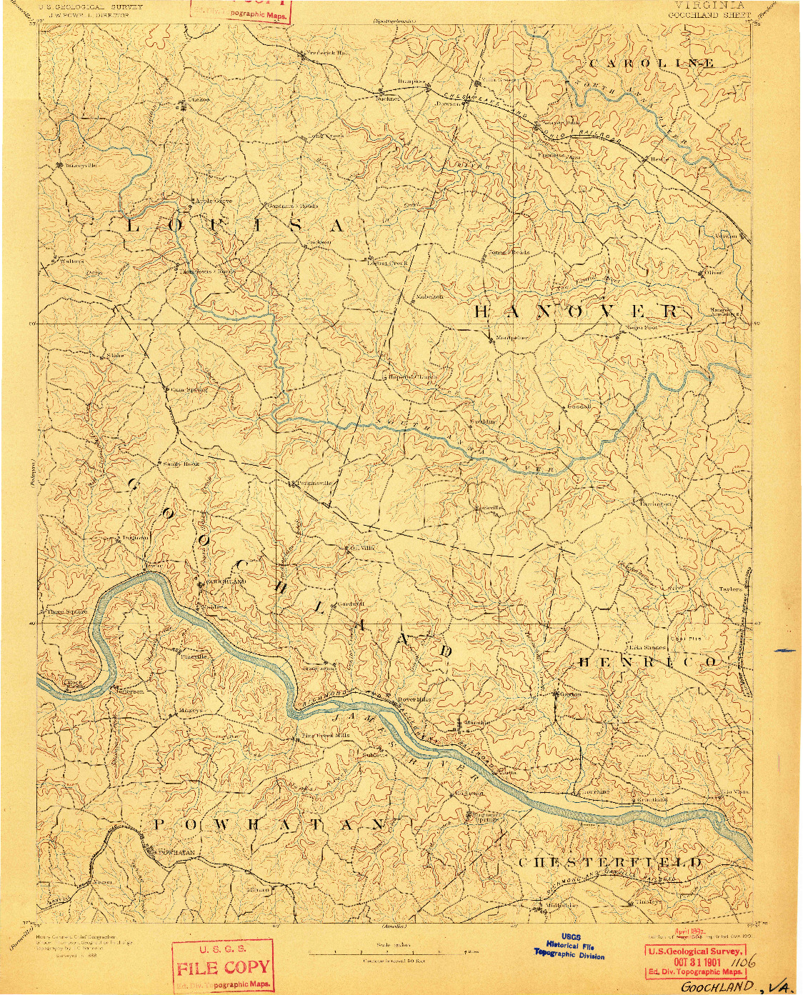 USGS 1:125000-SCALE QUADRANGLE FOR GOOCHLAND, VA 1892