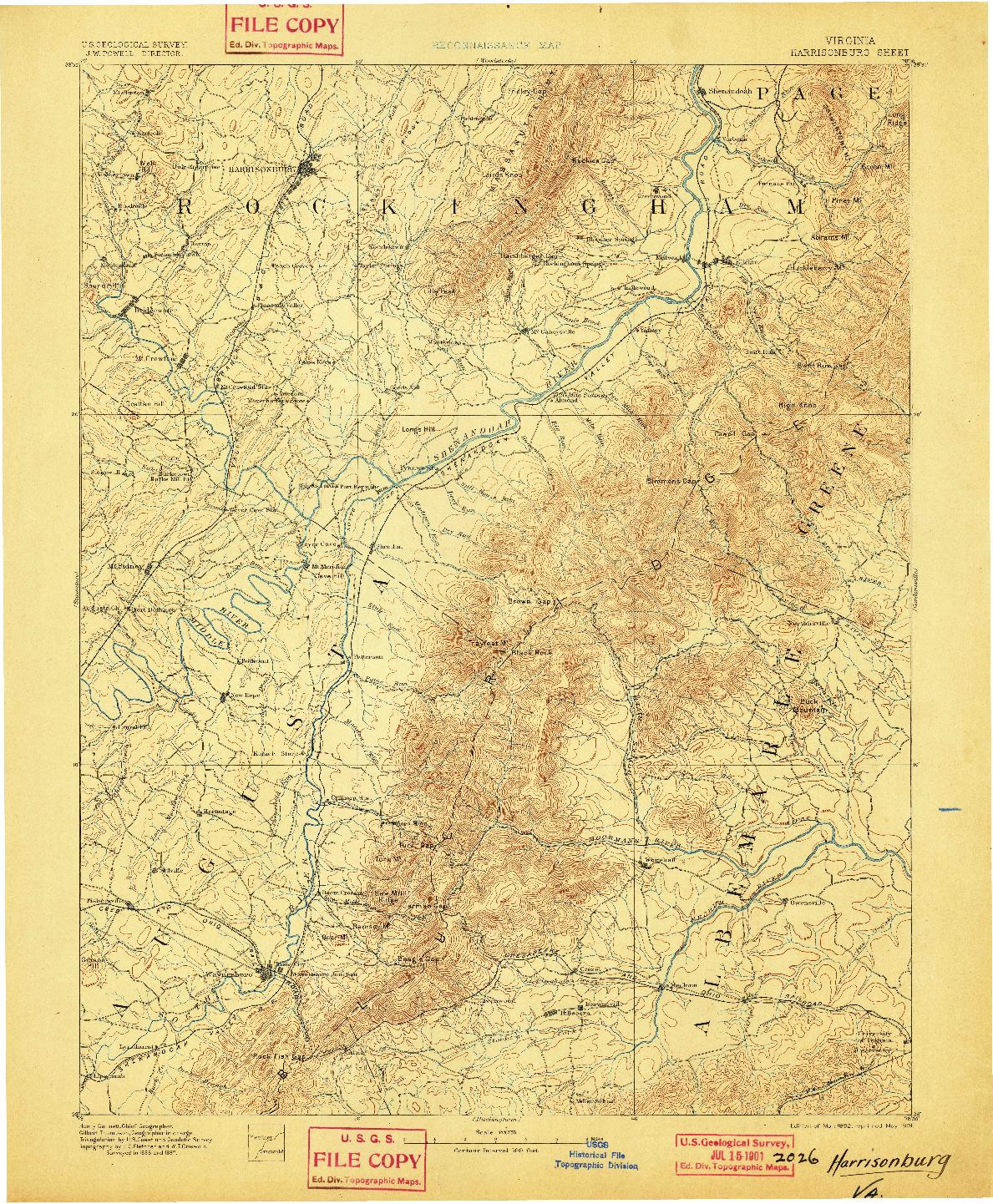 USGS 1:125000-SCALE QUADRANGLE FOR HARRISONBURG, VA 1892