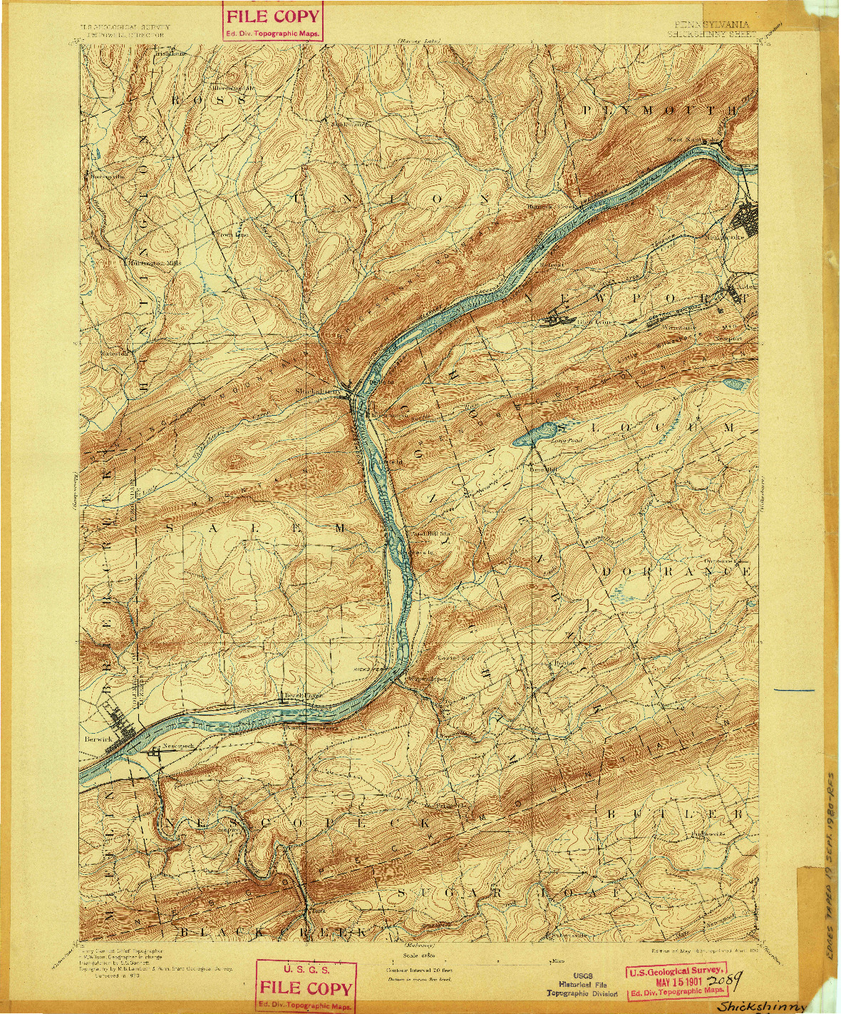 USGS 1:62500-SCALE QUADRANGLE FOR SHICKSHINNY, PA 1894