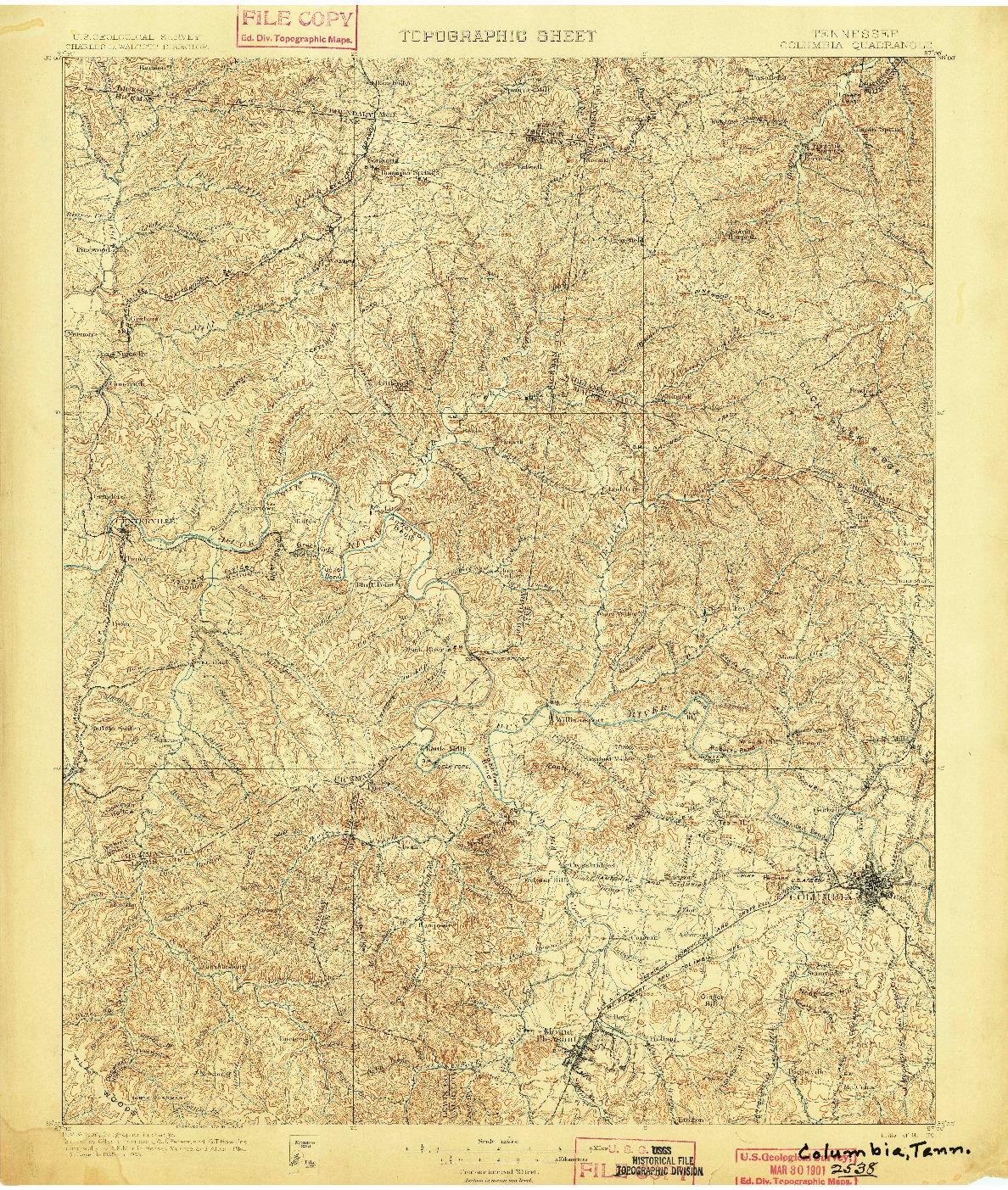 USGS 1:125000-SCALE QUADRANGLE FOR COLOMBIA, TN 1901