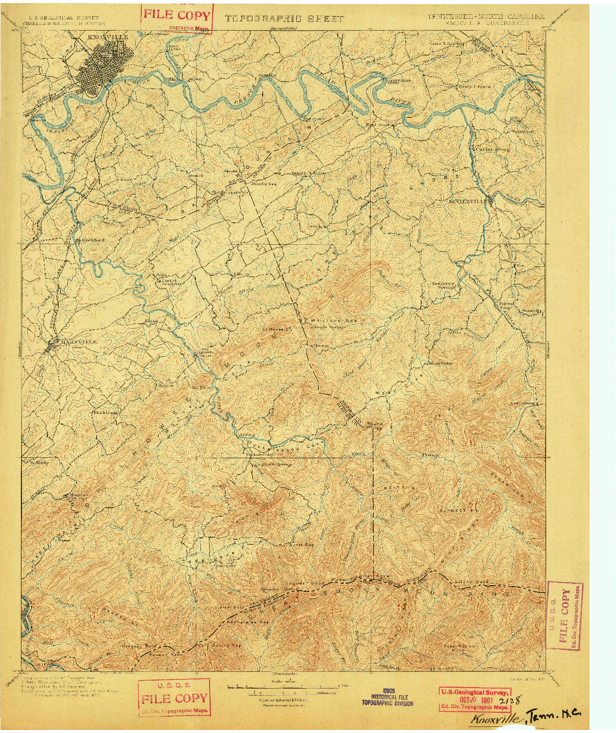 USGS 1:125000-SCALE QUADRANGLE FOR KNOXVILLE, TN 1901
