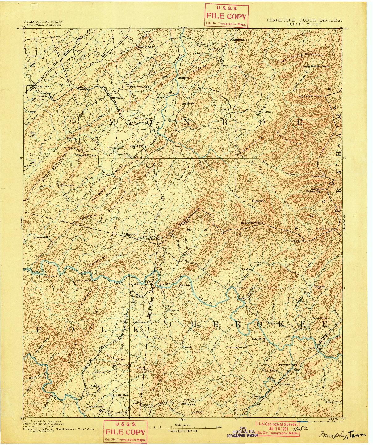 USGS 1:125000-SCALE QUADRANGLE FOR MURPHY, TN 1893