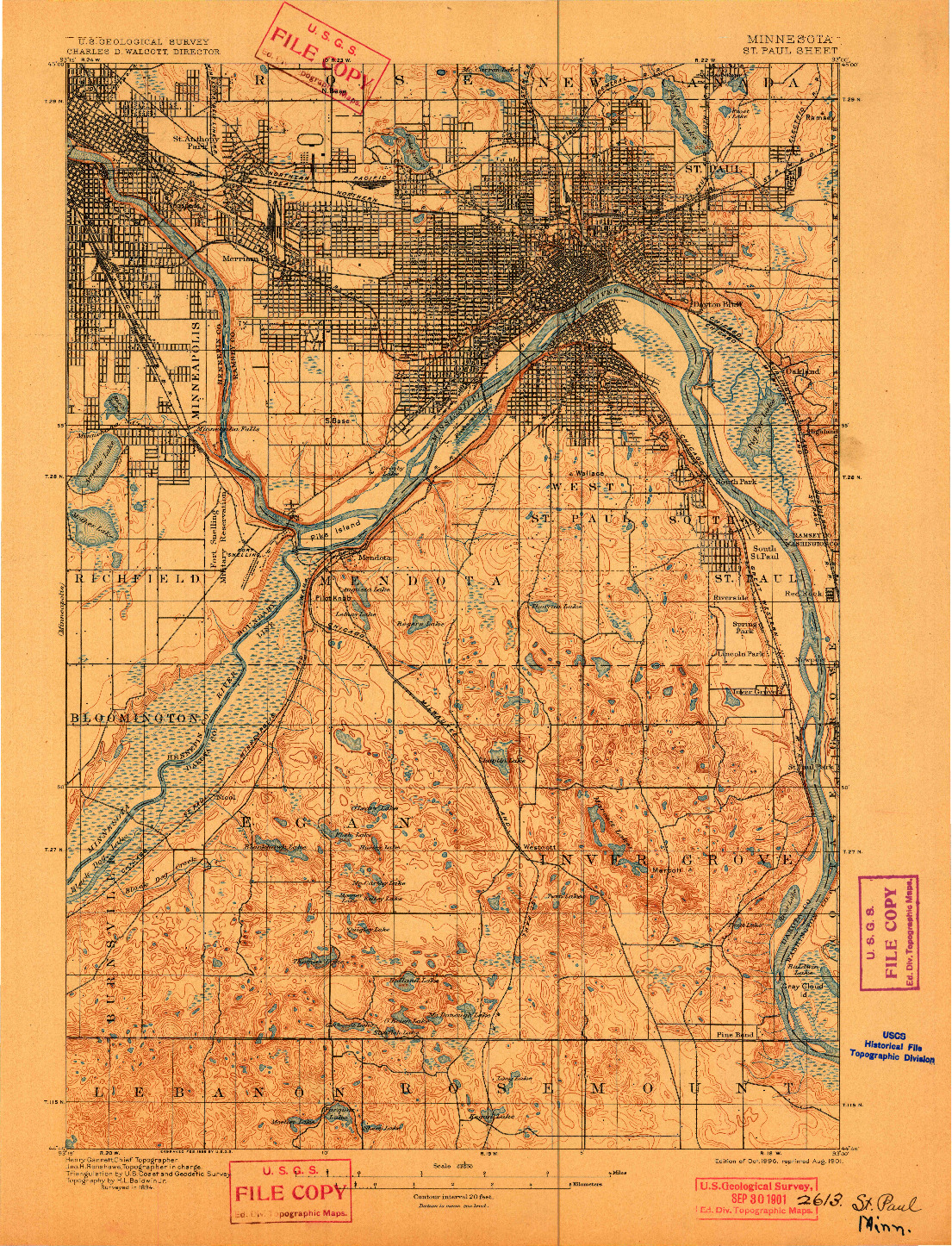 USGS 1:62500-SCALE QUADRANGLE FOR ST. PAUL, MN 1896