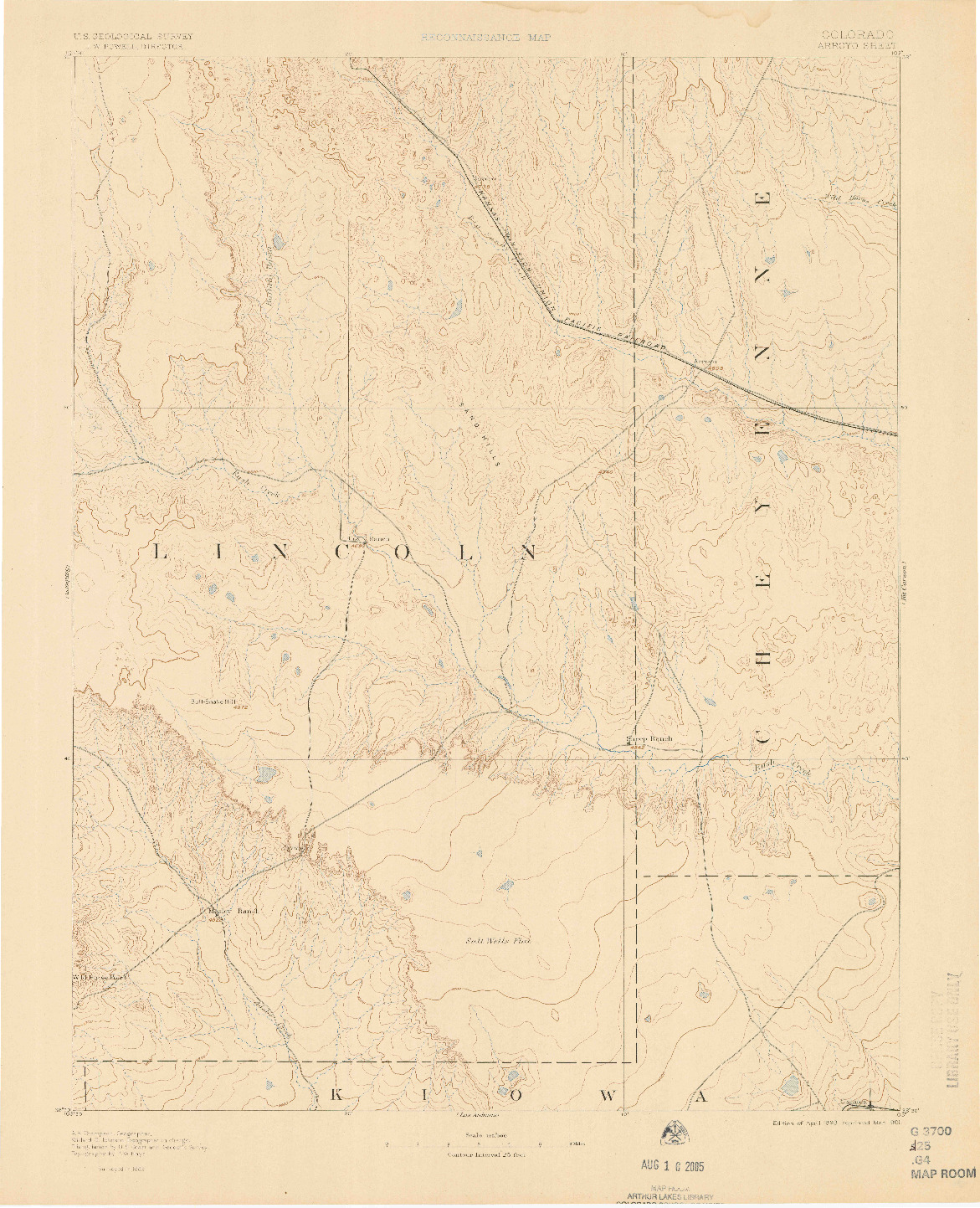 USGS 1:125000-SCALE QUADRANGLE FOR ARROYO, CO 1893